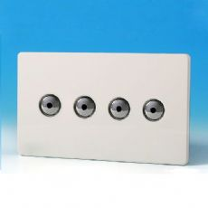 V-Pro IR, 4 Gang, 100 Watt IJ Remote Control/Touch LED Dimmer, Screwless Premium White - IJDQI104S